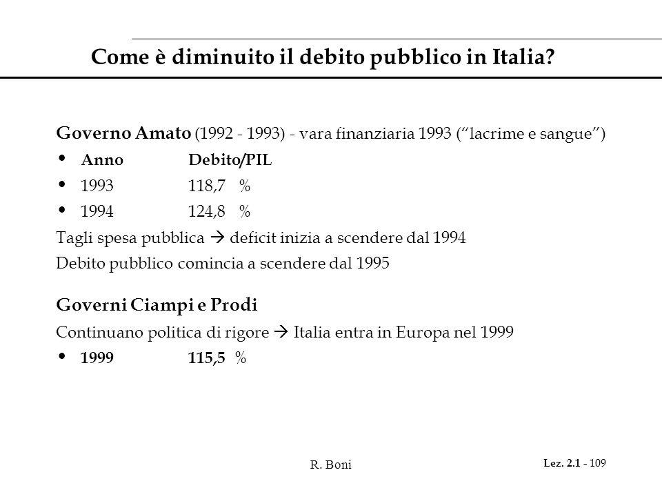 R. Boni Lez. 2.1 - 109 Come è diminuito il debito pubblico in Italia? Governo Amato (1992 - 1993) - vara finanziaria 1993 (lacrime e sangue) AnnoDebit