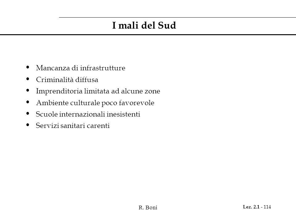 R. Boni Lez. 2.1 - 114 I mali del Sud Mancanza di infrastrutture Criminalità diffusa Imprenditoria limitata ad alcune zone Ambiente culturale poco fav