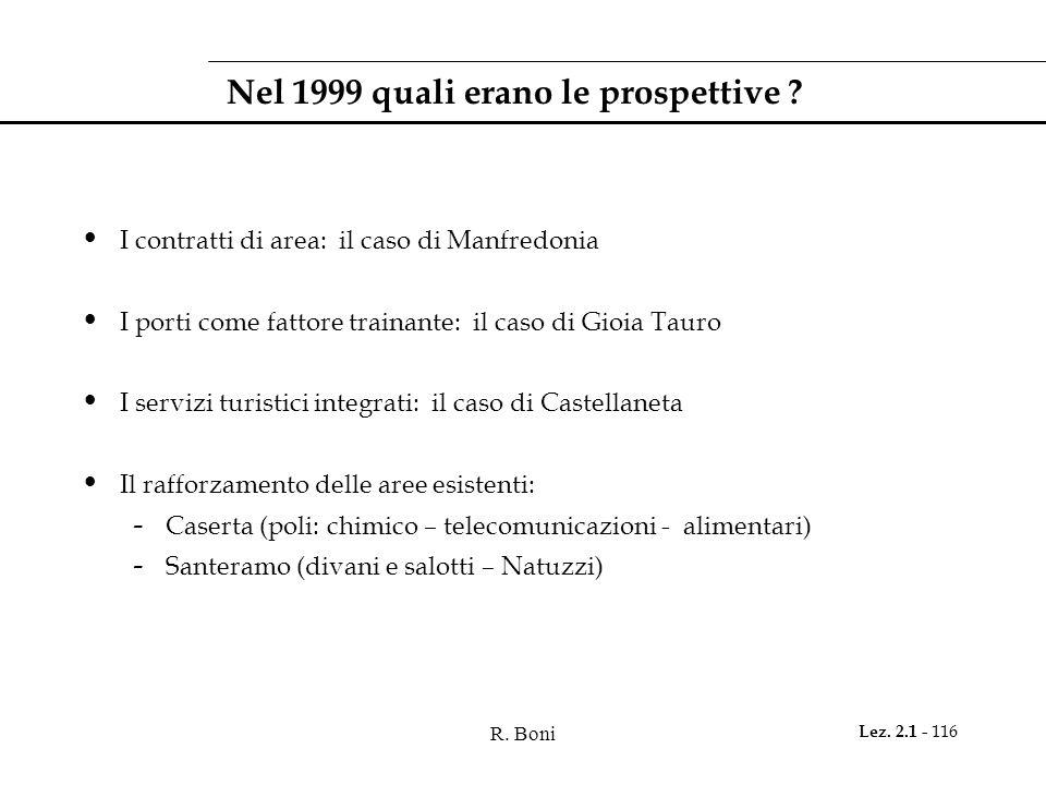 R. Boni Lez. 2.1 - 116 Nel 1999 quali erano le prospettive ? I contratti di area: il caso di Manfredonia I porti come fattore trainante: il caso di Gi