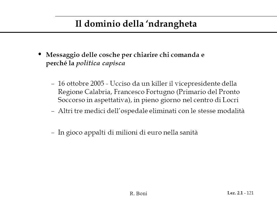 R. Boni Lez. 2.1 - 121 Il dominio della ndrangheta Messaggio delle cosche per chiarire chi comanda e perché la politica capisca –16 ottobre 2005 - Ucc