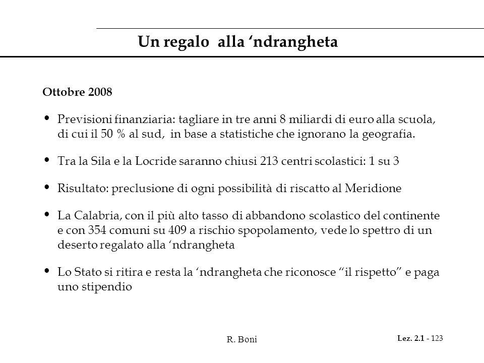 R. Boni Lez. 2.1 - 123 Un regalo alla ndrangheta Ottobre 2008 Previsioni finanziaria: tagliare in tre anni 8 miliardi di euro alla scuola, di cui il 5