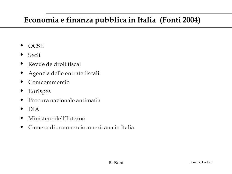R. Boni Lez. 2.1 - 125 Economia e finanza pubblica in Italia (Fonti 2004) OCSE Secit Revue de droit fiscal Agenzia delle entrate fiscali Confcommercio