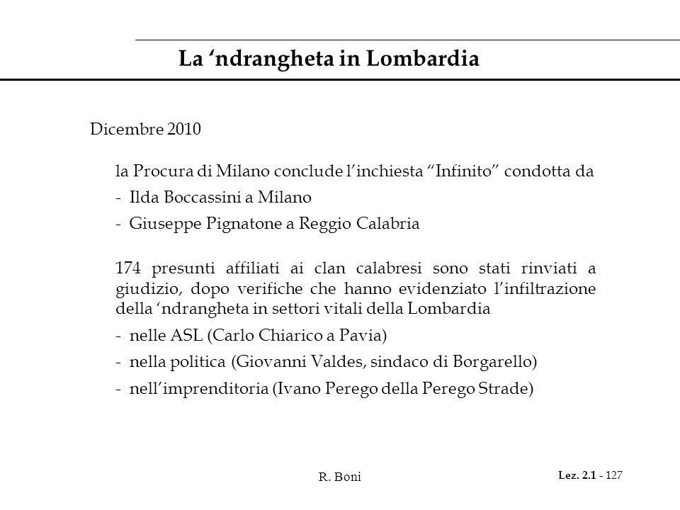 R. Boni Lez. 2.1 - 127 La ndrangheta in Lombardia Dicembre 2010 la Procura di Milano conclude linchiesta Infinito condotta da - Ilda Boccassini a Mila