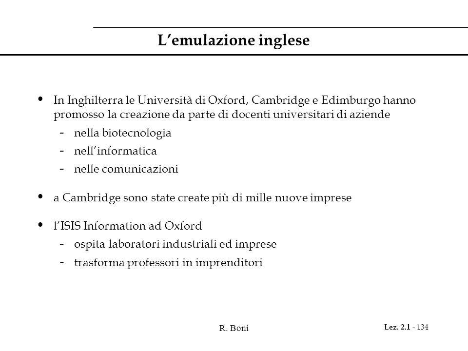 R. Boni Lez. 2.1 - 134 Lemulazione inglese In Inghilterra le Università di Oxford, Cambridge e Edimburgo hanno promosso la creazione da parte di docen