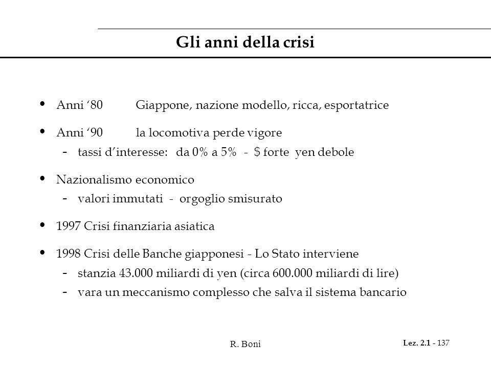 R. Boni Lez. 2.1 - 137 Gli anni della crisi Anni 80 Giappone, nazione modello, ricca, esportatrice Anni 90 la locomotiva perde vigore - tassi dinteres