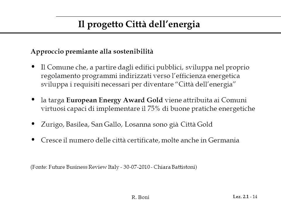 R. Boni Lez. 2.1 - 14 Il progetto Città dellenergia Approccio premiante alla sostenibilità Il Comune che, a partire dagli edifici pubblici, sviluppa n
