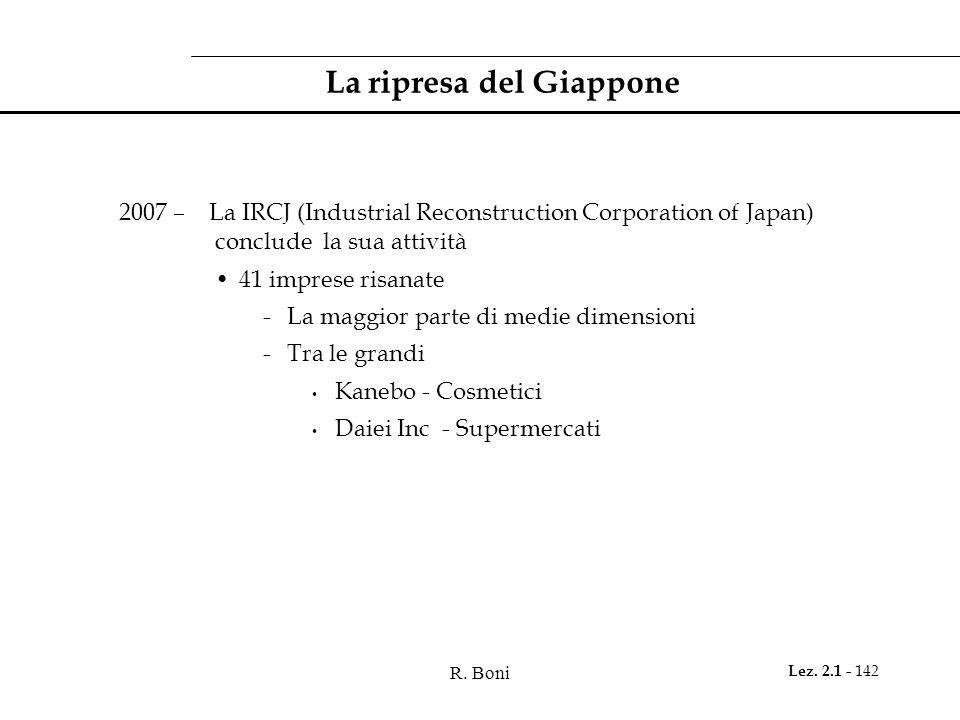 R. Boni Lez. 2.1 - 142 La ripresa del Giappone 2007 – La IRCJ (Industrial Reconstruction Corporation of Japan) conclude la sua attività 41 imprese ris