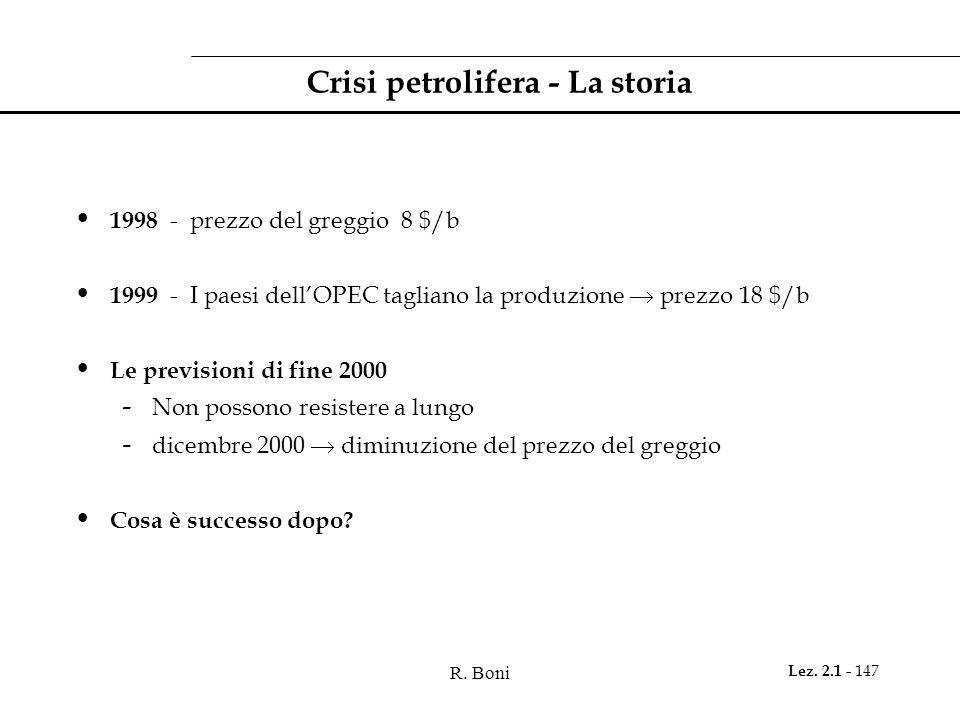 R. Boni Lez. 2.1 - 147 Crisi petrolifera - La storia 1998 - prezzo del greggio 8 $/b 1999 - I paesi dellOPEC tagliano la produzione prezzo 18 $/b Le p