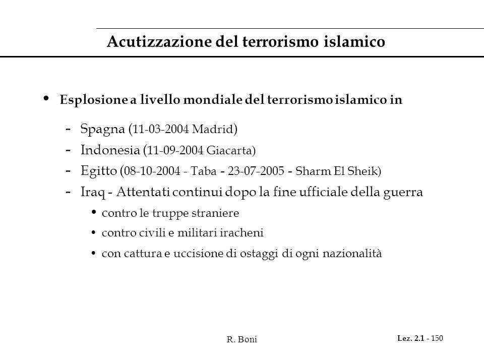 R. Boni Lez. 2.1 - 150 Acutizzazione del terrorismo islamico Esplosione a livello mondiale del terrorismo islamico in - Spagna ( 11-03-2004 Madrid ) -