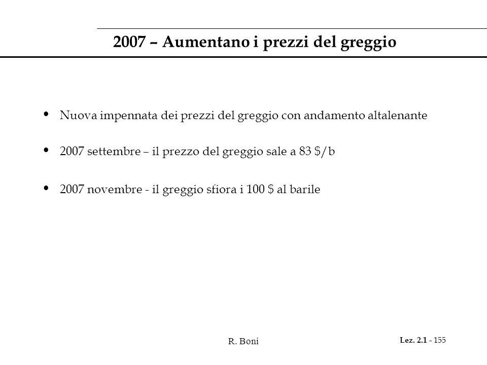 R. Boni Lez. 2.1 - 155 2007 – Aumentano i prezzi del greggio Nuova impennata dei prezzi del greggio con andamento altalenante 2007 settembre – il prez