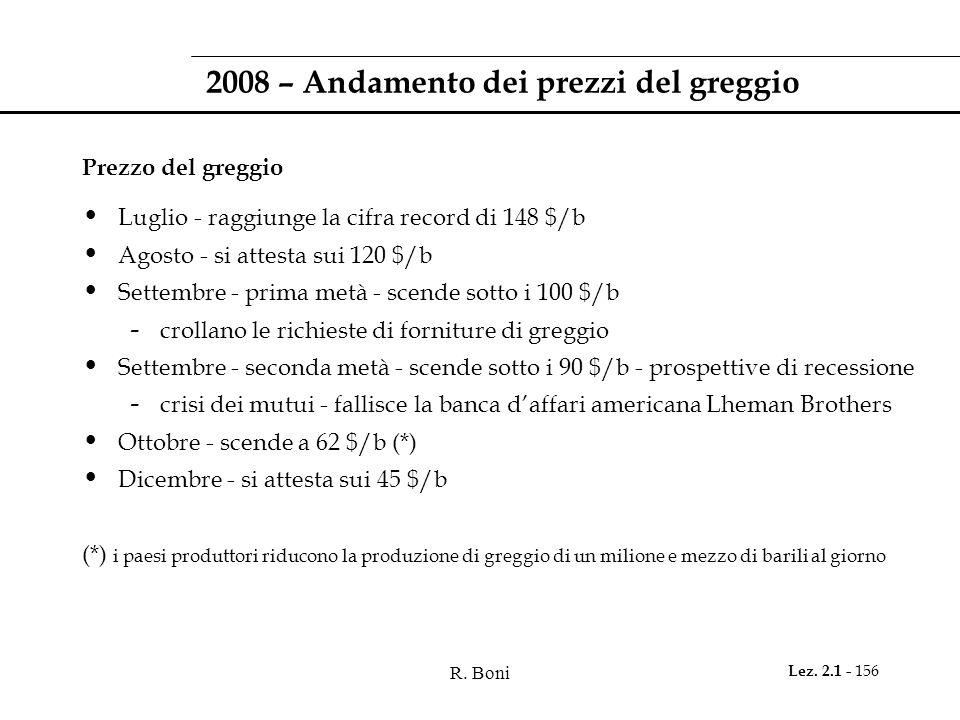 R. Boni Lez. 2.1 - 156 2008 – Andamento dei prezzi del greggio Prezzo del greggio Luglio - raggiunge la cifra record di 148 $/b Agosto - si attesta su