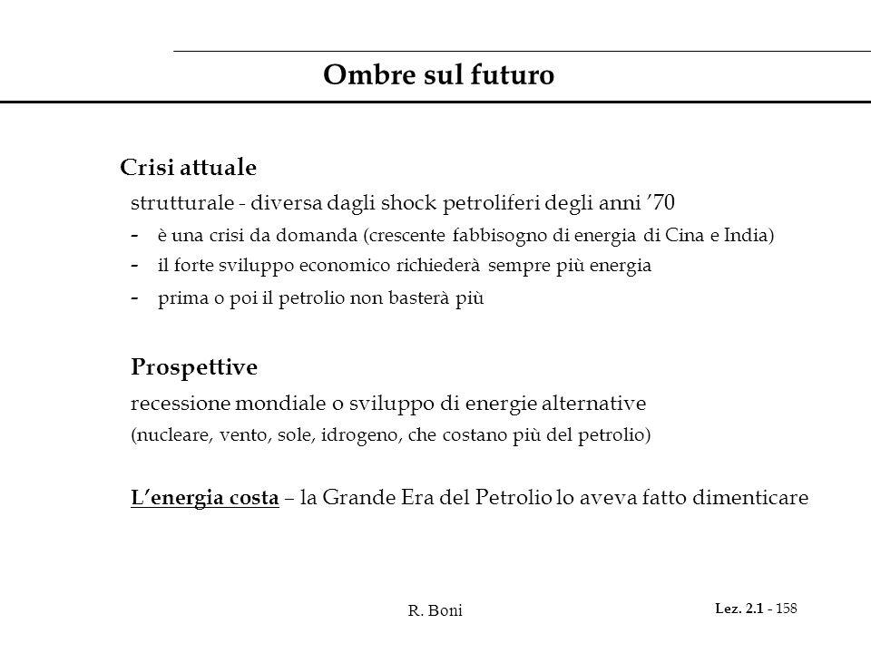 R. Boni Lez. 2.1 - 158 Ombre sul futuro Crisi attuale strutturale - diversa dagli shock petroliferi degli anni 70 - è una crisi da domanda (crescente
