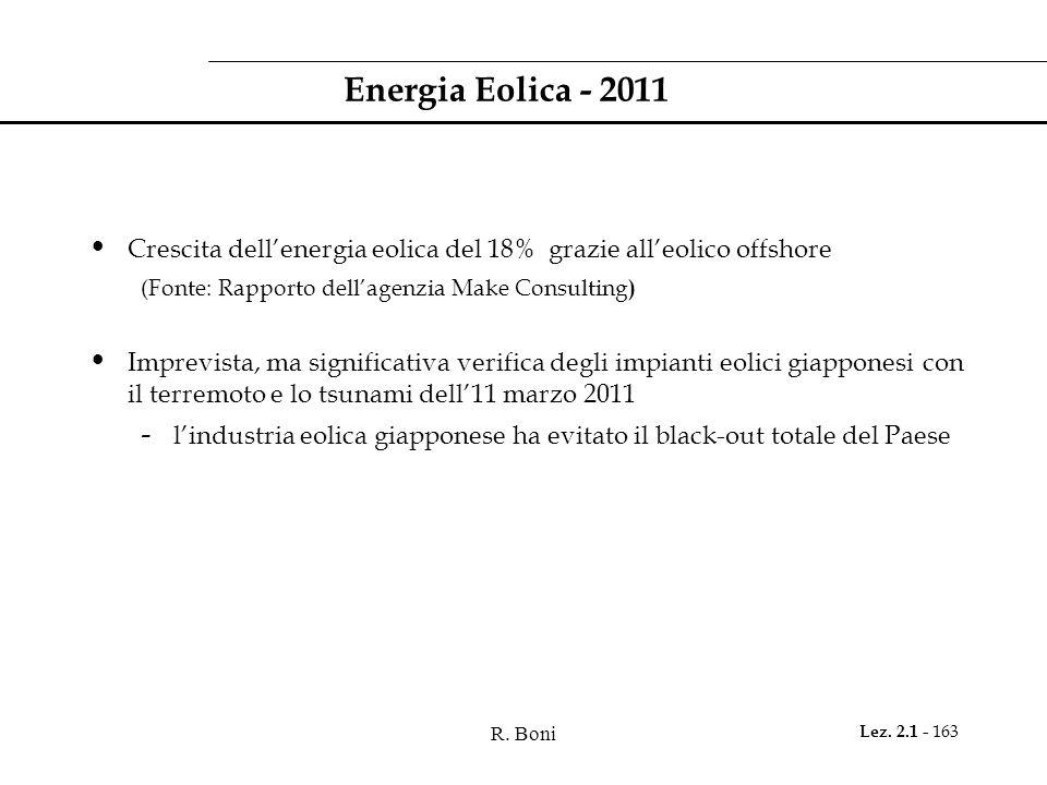 R. Boni Lez. 2.1 - 163 Energia Eolica - 2011 Crescita dellenergia eolica del 18% grazie alleolico offshore (Fonte: Rapporto dellagenzia Make Consultin