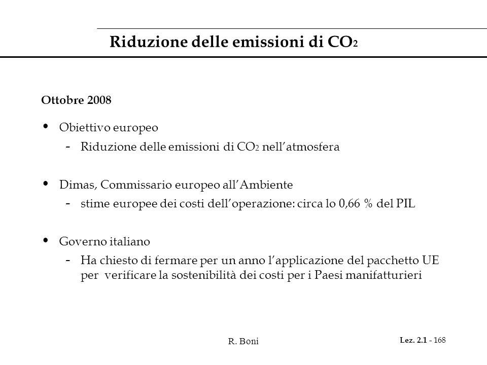 R. Boni Lez. 2.1 - 168 Riduzione delle emissioni di CO 2 Ottobre 2008 Obiettivo europeo - Riduzione delle emissioni di CO 2 nellatmosfera Dimas, Commi