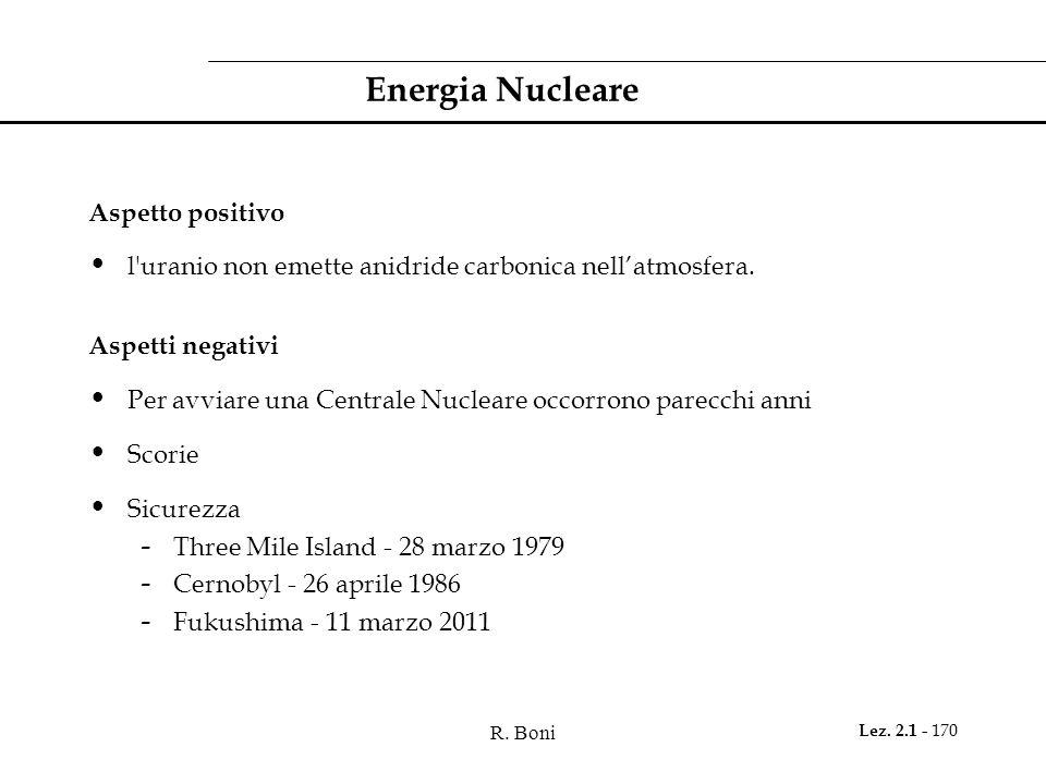 R. Boni Lez. 2.1 - 170 Energia Nucleare Aspetto positivo l'uranio non emette anidride carbonica nellatmosfera. Aspetti negativi Per avviare una Centra