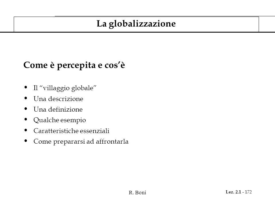 R. Boni Lez. 2.1 - 172 La globalizzazione Come è percepita e cosè Il villaggio globale Una descrizione Una definizione Qualche esempio Caratteristiche