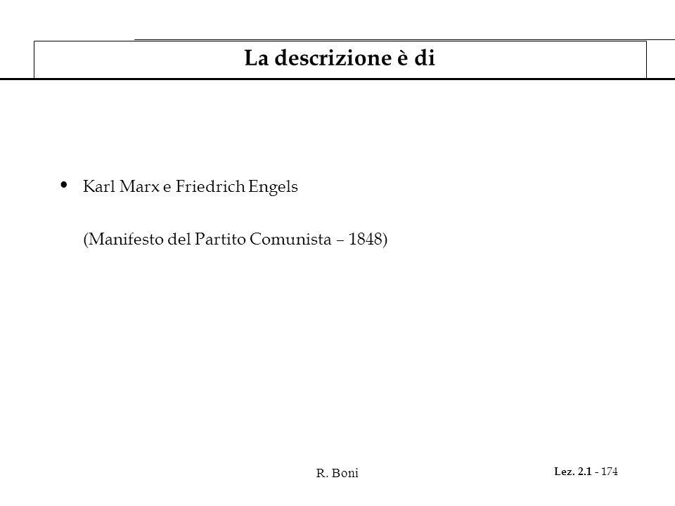 R. Boni Lez. 2.1 - 174 La descrizione è di Karl Marx e Friedrich Engels (Manifesto del Partito Comunista – 1848)