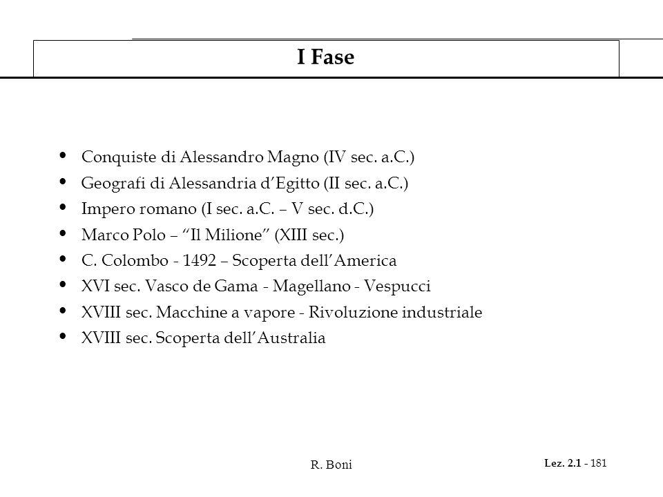 R. Boni Lez. 2.1 - 181 I Fase Conquiste di Alessandro Magno (IV sec. a.C.) Geografi di Alessandria dEgitto (II sec. a.C.) Impero romano (I sec. a.C. –