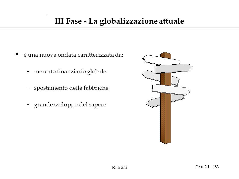 R. Boni Lez. 2.1 - 183 III Fase - La globalizzazione attuale è una nuova ondata caratterizzata da: - mercato finanziario globale - spostamento delle f