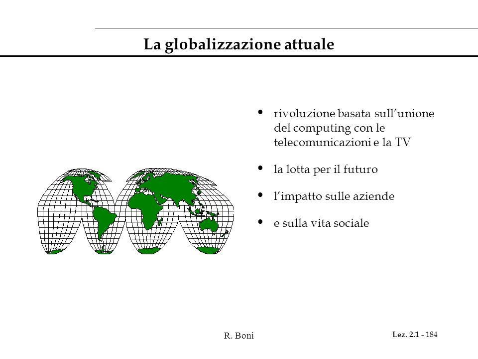 R. Boni Lez. 2.1 - 184 La globalizzazione attuale rivoluzione basata sullunione del computing con le telecomunicazioni e la TV la lotta per il futuro
