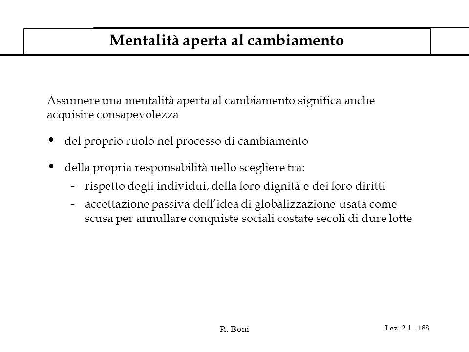 R. Boni Lez. 2.1 - 188 Mentalità aperta al cambiamento Assumere una mentalità aperta al cambiamento significa anche acquisire consapevolezza del propr