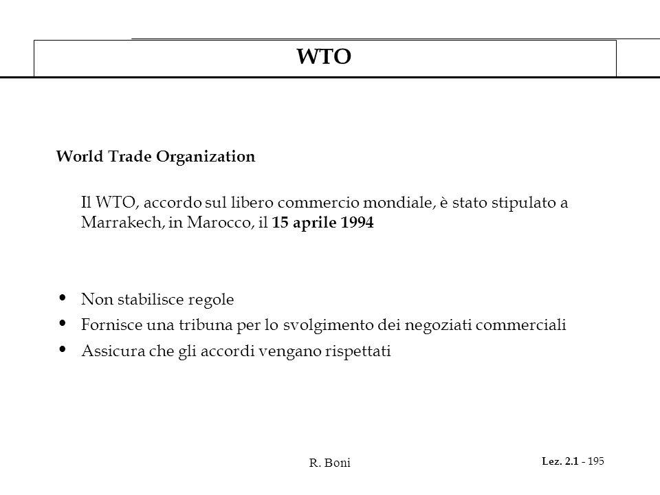 R. Boni Lez. 2.1 - 195 WTO World Trade Organization Il WTO, accordo sul libero commercio mondiale, è stato stipulato a Marrakech, in Marocco, il 15 ap