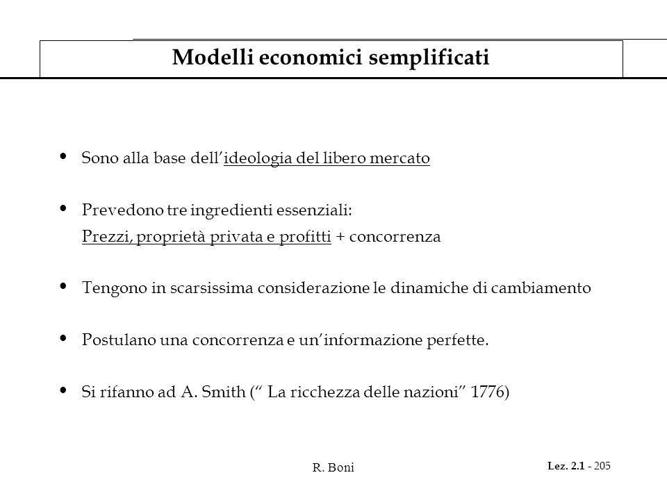 R. Boni Lez. 2.1 - 205 Modelli economici semplificati Sono alla base dellideologia del libero mercato Prevedono tre ingredienti essenziali: Prezzi, pr