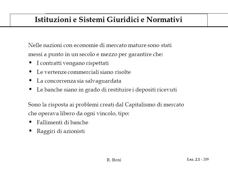 R. Boni Lez. 2.1 - 209 Istituzioni e Sistemi Giuridici e Normativi Nelle nazioni con economie di mercato mature sono stati messi a punto in un secolo