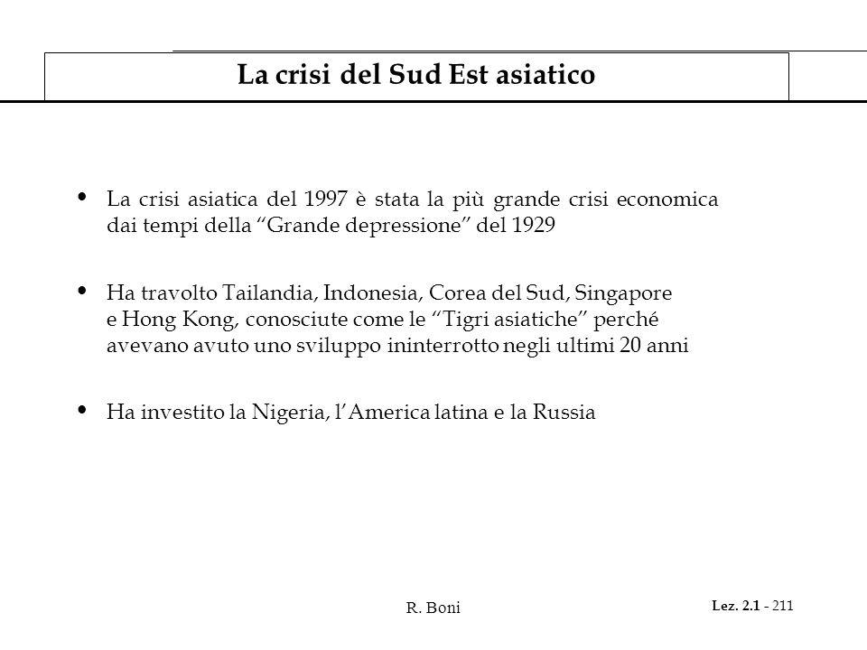 R. Boni Lez. 2.1 - 211 La crisi del Sud Est asiatico La crisi asiatica del 1997 è stata la più grande crisi economica dai tempi della Grande depressio