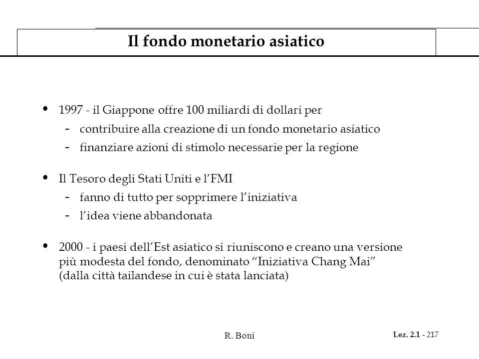 R. Boni Lez. 2.1 - 217 Il fondo monetario asiatico 1997 - il Giappone offre 100 miliardi di dollari per - contribuire alla creazione di un fondo monet
