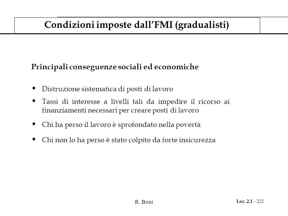 R. Boni Lez. 2.1 - 222 Condizioni imposte dallFMI (gradualisti) Principali conseguenze sociali ed economiche Distruzione sistematica di posti di lavor