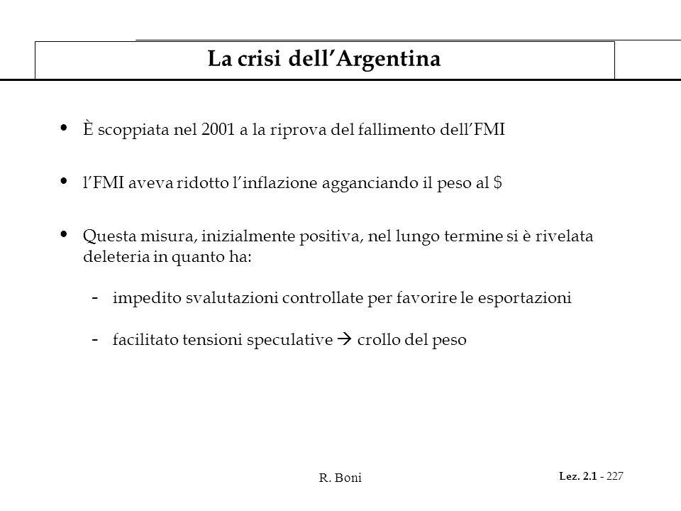R. Boni Lez. 2.1 - 227 La crisi dellArgentina È scoppiata nel 2001 a la riprova del fallimento dellFMI lFMI aveva ridotto linflazione agganciando il p