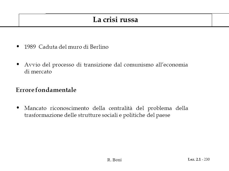 R. Boni Lez. 2.1 - 230 La crisi russa 1989 Caduta del muro di Berlino Avvio del processo di transizione dal comunismo alleconomia di mercato Errore fo