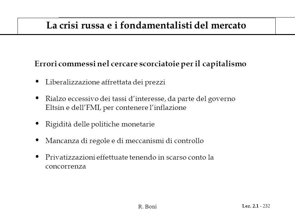 R. Boni Lez. 2.1 - 232 La crisi russa e i fondamentalisti del mercato Errori commessi nel cercare scorciatoie per il capitalismo Liberalizzazione affr