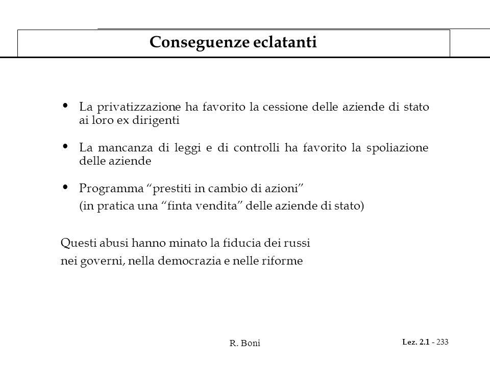 R. Boni Lez. 2.1 - 233 Conseguenze eclatanti La privatizzazione ha favorito la cessione delle aziende di stato ai loro ex dirigenti La mancanza di leg