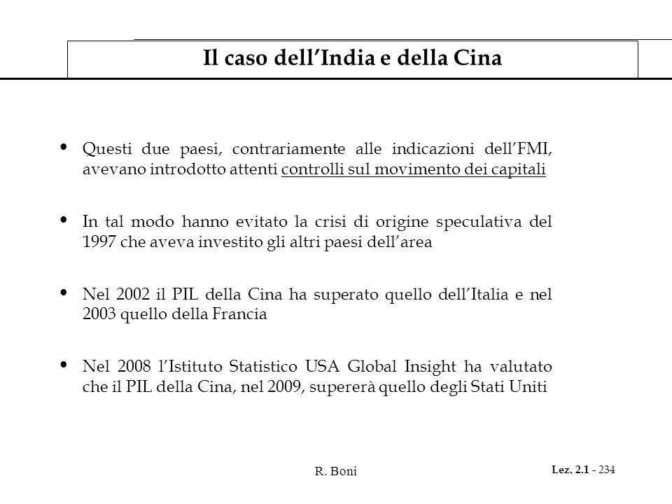 R. Boni Lez. 2.1 - 234 Il caso dellIndia e della Cina Questi due paesi, contrariamente alle indicazioni dellFMI, avevano introdotto attenti controlli