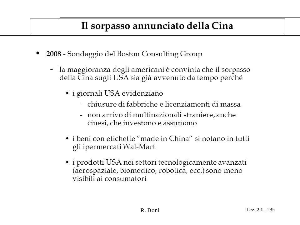 R. Boni Lez. 2.1 - 235 Il sorpasso annunciato della Cina 2008 - Sondaggio del Boston Consulting Group - la maggioranza degli americani è convinta che