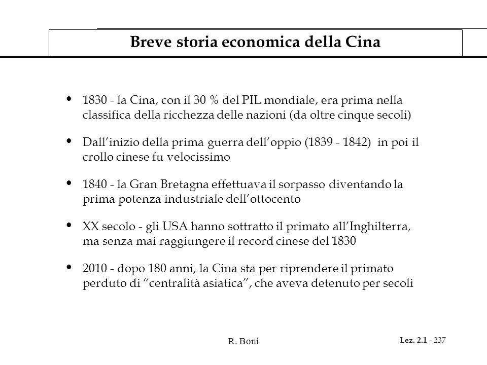 R. Boni Lez. 2.1 - 237 Breve storia economica della Cina 1830 - la Cina, con il 30 % del PIL mondiale, era prima nella classifica della ricchezza dell