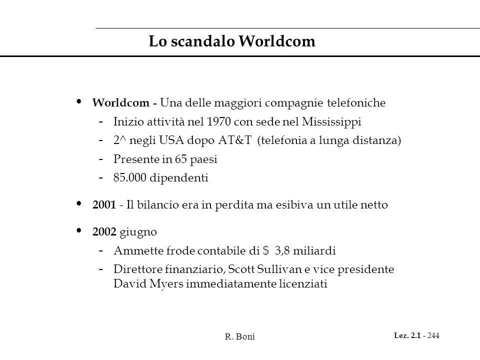 R. Boni Lez. 2.1 - 244 Lo scandalo Worldcom Worldcom - Una delle maggiori compagnie telefoniche - Inizio attività nel 1970 con sede nel Mississippi -