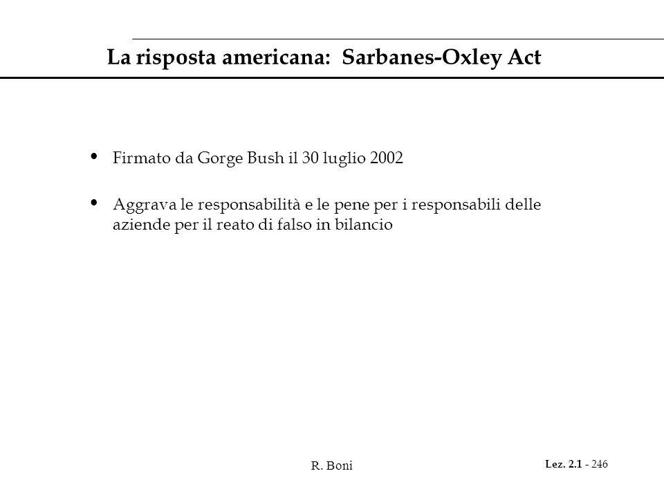 R. Boni Lez. 2.1 - 246 La risposta americana: Sarbanes-Oxley Act Firmato da Gorge Bush il 30 luglio 2002 Aggrava le responsabilità e le pene per i res