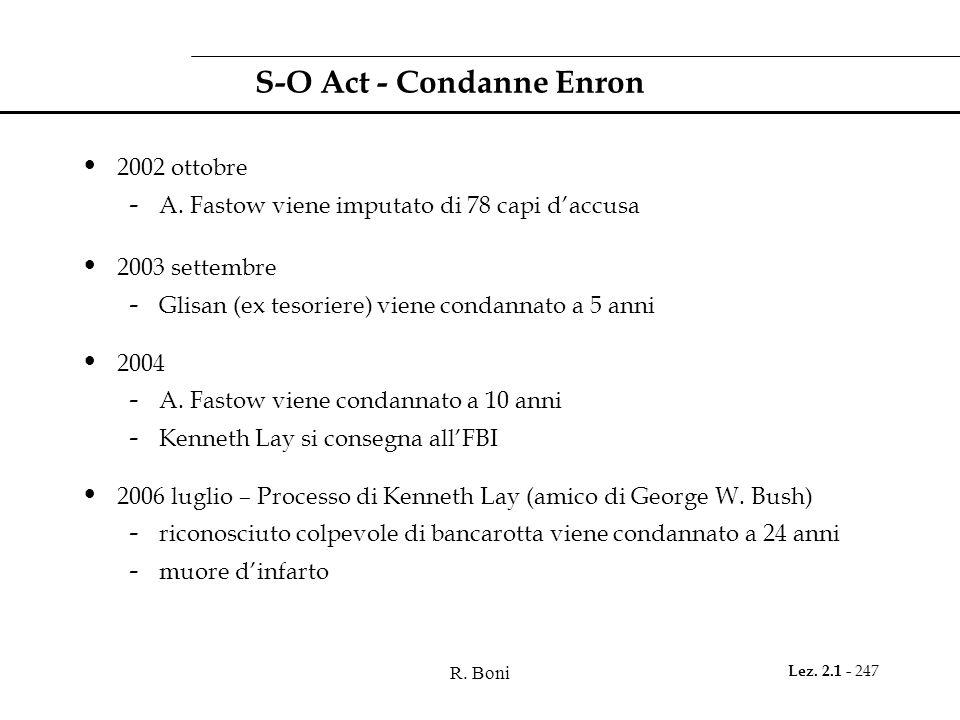 R. Boni Lez. 2.1 - 247 S-O Act - Condanne Enron 2002 ottobre - A. Fastow viene imputato di 78 capi daccusa 2003 settembre - Glisan (ex tesoriere) vien