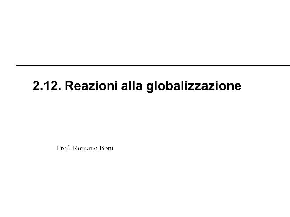 R. Boni Lez. 2.1 - 261 Prof. Romano Boni 2.12. Reazioni alla globalizzazione