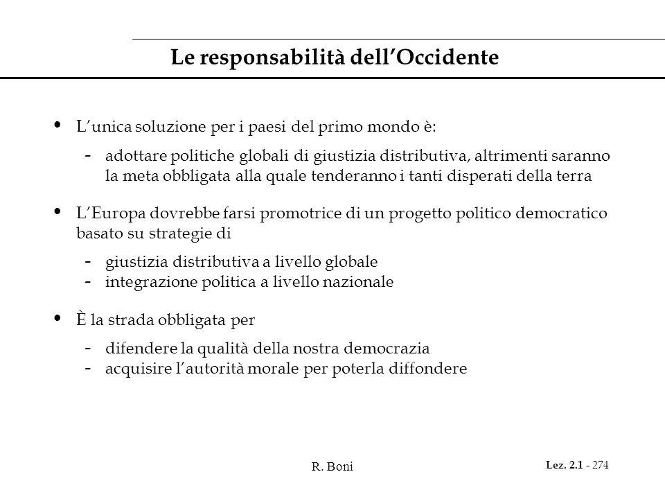 R. Boni Lez. 2.1 - 274 Le responsabilità dellOccidente Lunica soluzione per i paesi del primo mondo è: - adottare politiche globali di giustizia distr
