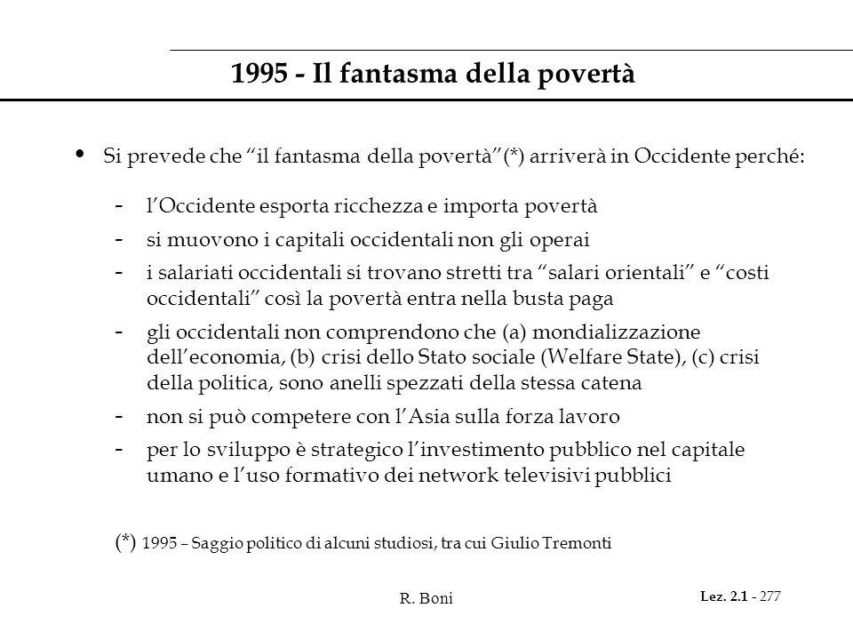 R. Boni Lez. 2.1 - 277 1995 - Il fantasma della povertà Si prevede che il fantasma della povertà(*) arriverà in Occidente perché: - lOccidente esporta