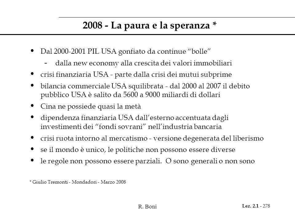 R. Boni Lez. 2.1 - 278 2008 - La paura e la speranza * Dal 2000-2001 PIL USA gonfiato da continue bolle - dalla new economy alla crescita dei valori i