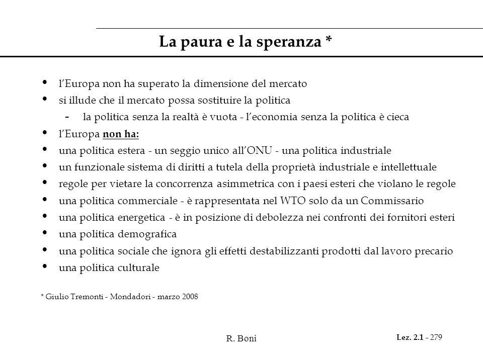 R. Boni Lez. 2.1 - 279 La paura e la speranza * lEuropa non ha superato la dimensione del mercato si illude che il mercato possa sostituire la politic