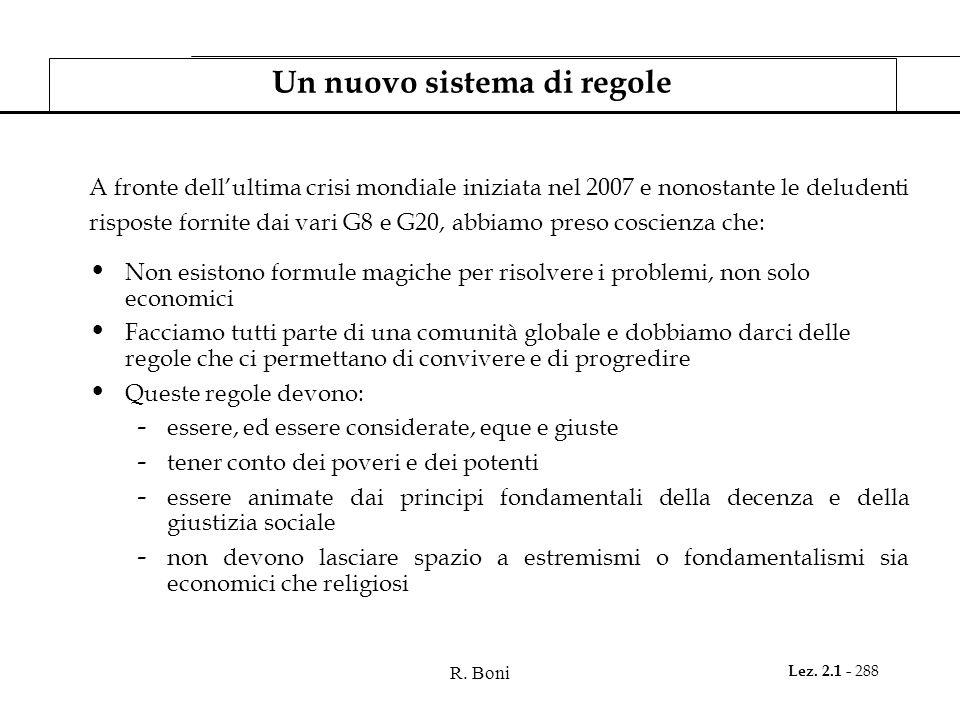 R. Boni Lez. 2.1 - 288 Un nuovo sistema di regole A fronte dellultima crisi mondiale iniziata nel 2007 e nonostante le deludenti risposte fornite dai