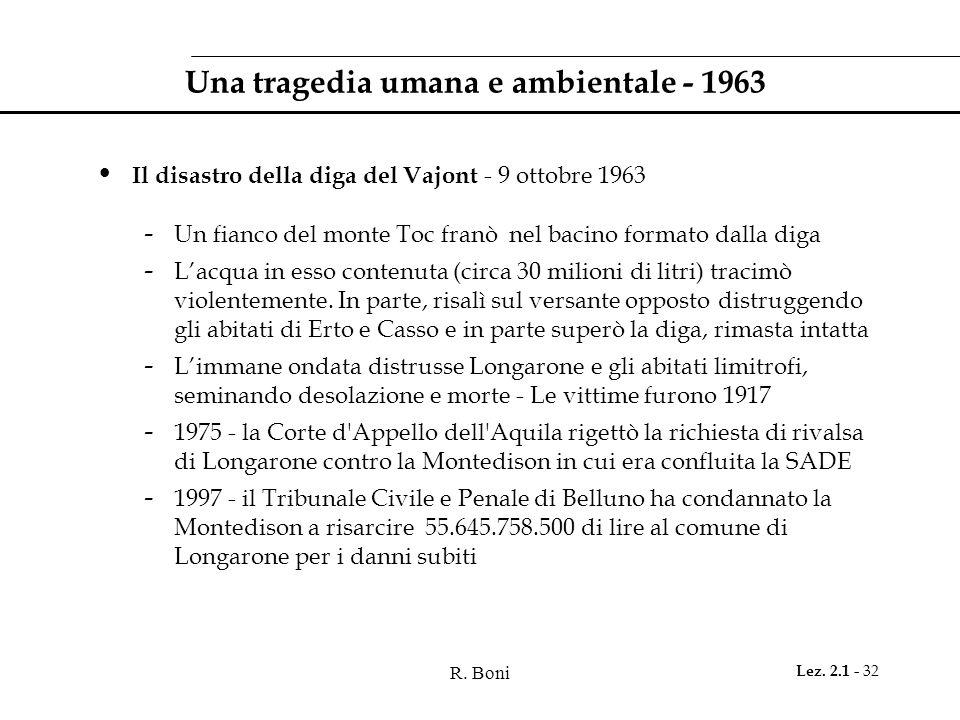 R. Boni Lez. 2.1 - 32 Una tragedia umana e ambientale - 1963 Il disastro della diga del Vajont - 9 ottobre 1963 - Un fianco del monte Toc franò nel ba