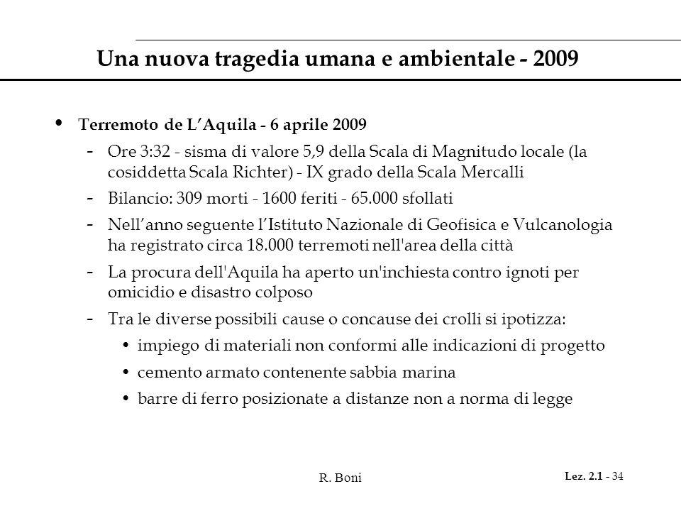 R. Boni Lez. 2.1 - 34 Una nuova tragedia umana e ambientale - 2009 Terremoto de LAquila - 6 aprile 2009 - Ore 3:32 - sisma di valore 5,9 della Scala d