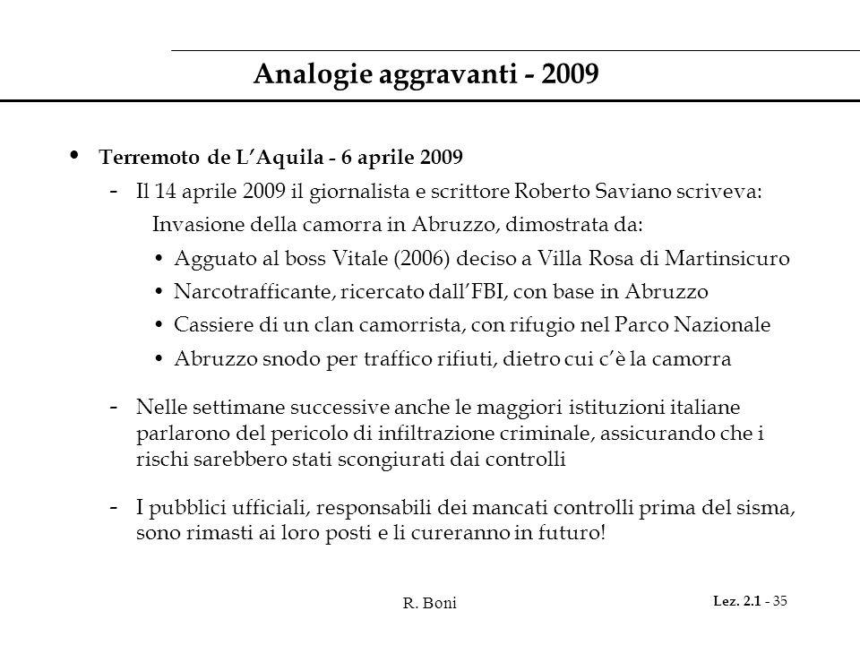 R. Boni Lez. 2.1 - 35 Analogie aggravanti - 2009 Terremoto de LAquila - 6 aprile 2009 - Il 14 aprile 2009 il giornalista e scrittore Roberto Saviano s